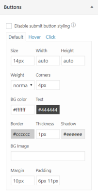 button styling settings for WordPress contact forms